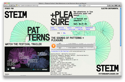 Website for the Patterns + Pleasure Festival & Symposium in collaboration Remco van Bladel and Rob van den Nieuwenhuizen