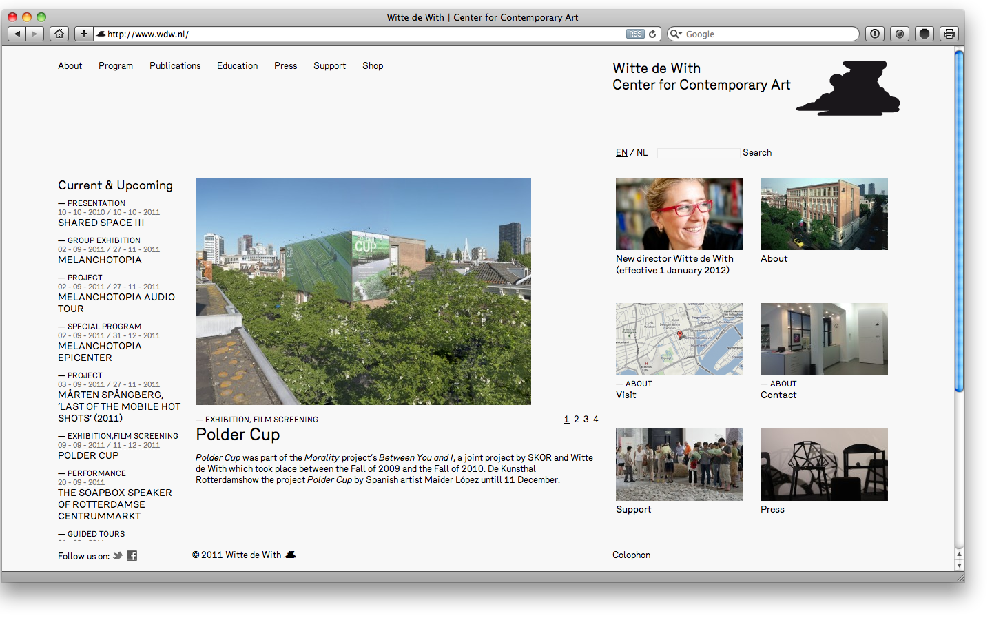 Website for Witte de With Rotterdam in collaboration with Remco van Bladel
